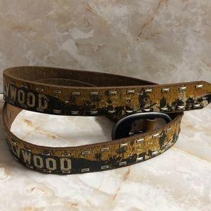 "Vintage Hollywood leather island belt studded 49 """